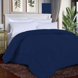 Luxury Navy Blue Color Alternate Down quilted corner tabs Comforter