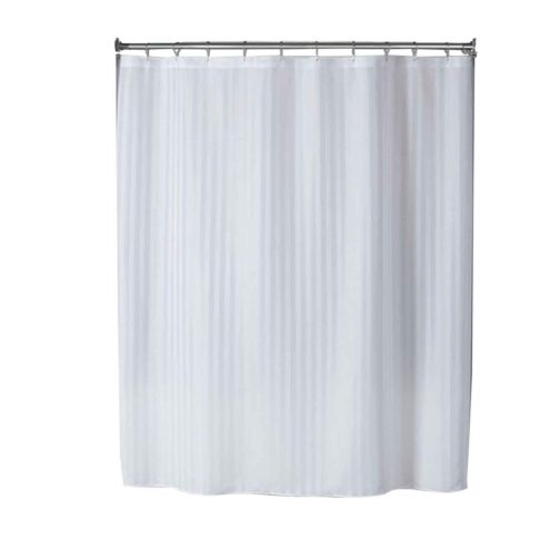 Premium Stripe Shower Curtains White