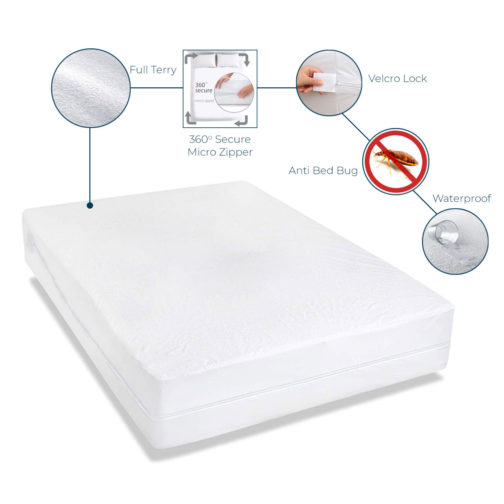 Waterproof Best Quality Velcro Zipper Lock Bed Bug Protectors